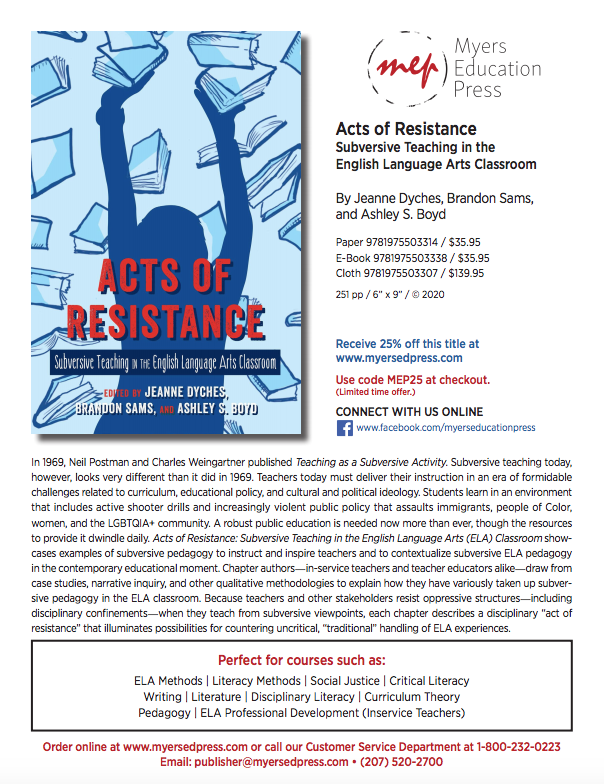 Flyer for Acts of Resistance, the book where Jill's writing is published